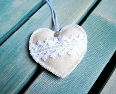 Heart ornament felt with lace handmade white by PrettyFeltThings