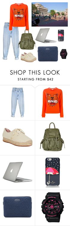 """""""Orange College"""" by annisamuahmuah on Polyvore featuring Levi's, Kenzo, Columbia, Topshop, Speck, Kate Spade, Marc by Marc Jacobs, G-Shock, women's clothing and women"""