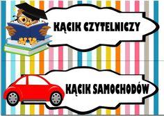 Kąciki w przedszkolu - etykiety do wydruku | Pani Monia Polish Language, Classroom Decor, Montessori, Playroom, Diy And Crafts, Preschool, Family Guy, Clip Art, Teacher