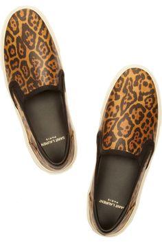 Saint Laurent Leopard-print glossed-leather slip-on sneakers NET-A-PORTER.COM