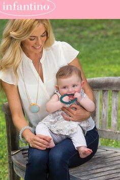 Infantino Teething Gems Pendant and Bracelet Set Periwinkle for sale online Teething Jewelry, Baby Teethers, Periwinkle, Baby Feeding, Bracelet Set, Color Splash, Gems, Pendant, Aunt