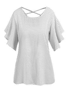 Meaneor Women's Vintage Polka Dots Pleated Chiffon Blouse Soft T-shirt White/XL  Special Offer: $19.99  155 Reviews Meaneor Women Sexy Criss Cross Backless Bell Sleeve Blouse Polka Dot Causal Summer TopsMaterial: 100% Cotton Blend. Soft and Comfortable to wear. Skin-friendly.Back...