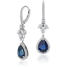 Blue Nile Pear Shape Sapphire and Diamond Drop Earrings (849 425 UAH) ❤ liked on Polyvore featuring jewelry, earrings, blue nile, blue nile earrings, 18 karat gold earrings, sapphire jewelry and blue nile jewelry