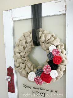 Today's Fabulous Finds: Valentine Burlap {Bubble} Wreath. Links in this post on how to make a bubble wreath and how to make rolled flowers. They are all glued onto a common back, so it might be worth it to make rolled flowers seasonally?