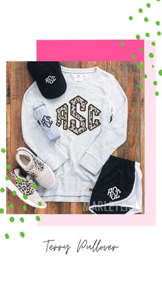 Our monogrammed terry pullover sweatshirt is definitely a customer favorite here at Marleylilly. So much so, that we've made this style available in all sizes, including adult sizes, youth sizes, toddler sizes and baby sizes! You just can't go wrong with this super-soft cotton terry-loop sweatshirt that's not too hot. Choose from several monogramming designs, including floral designs, animal prints, fun sayings and plaid colors.