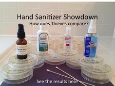 Hand sanitizer showdown. Do essential oils like thieves really kill germs?