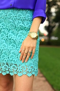 Royal Blue - Purple Blouse Shirt. Mint Lace Pencil Skirt.