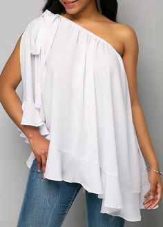 Ruffle Hem White One Shoulder Blouse Trendy Tops For Women, Tie Blouse, Shirt Dress, White Outfits, Summer Outfits, Blouse Styles, White Long Sleeve, Fashion Outfits, Fashion Clothes