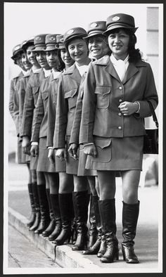 Wellington meter maids wearing new uniforms, taken 13 June 1973 by an unidentified Evening Post staff photographer. Shows a row of nine women weari. Maids, Kiwi, Old School, New Zealand, The Row, Halloween, Fun, How To Wear, Women