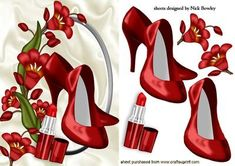 PRETTY RED FLOWERS WITH RED SHOES LIPPY on Craftsuprint - Add To Basket!