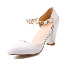 Damenschuhe - High Heels - Kleid - Lackleder - Blockabsatz - Absätze / Rundeschuh - Lila / Weiß / Beige / Koralle – EUR € 23.74