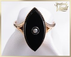 Your place to buy and sell all things handmade Pearl Ring, Black Onyx, Fine Jewelry, Gemstone Rings, Jewels, Free Shipping, Yellow, Antiques, Metal