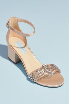 Intricately embellished with crystal infinity loops and floral blooms, these satin ankle strap sandals deliver statement, dramatic style with the comfort and support of a block heel. By Blue by Betse Wedding Shoes Block Heel, Rose Gold Wedding Shoes, Fall Wedding Shoes, Wedding Shoes Heels, Block Heel Shoes, Bridesmaids Heels, Bridesmaid Duties, Bridesmaid Dresses, Davids Bridal Shoes