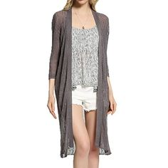 TLIH Women's Lightweight Pure Color Slim Fit Flax Knitted Long Cardigan Grey