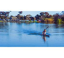 Solitary Springtime Rowing on Lake Weeroona Photographic Print
