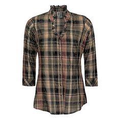 BKE Plaid Ruffle Shirt ($16) ❤ liked on Polyvore featuring tops, shirts, blouses, black rust, plaid top, tartan shirt, snap front shirt, metallic top and shirt tops