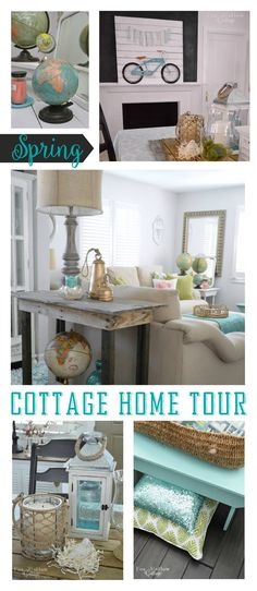 Cottage Home Tour | Full of affordable, thrift store, garage sale and DIY decor and decorating ideas. Eclectic mix of rustic, beachy coastal framhouse and misc... elements foxhollowcottage.com