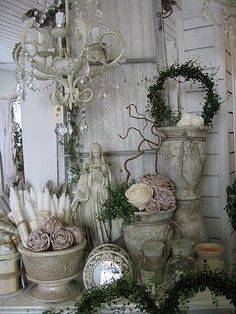 shabby chic - alessandra fiorani - Picasa Web Albums- gardenscaping idea...substitue gazing metallic gazing ball for shiny pc. front and center. less pieces of course