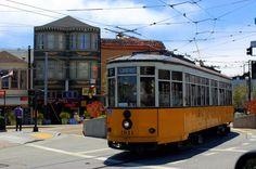SAN FRANCISCO 'F' TROLLEY' YERBA+BUENA+GARDENS+CHRISTMAS+LIGHTING   Castro, Duboce Triangle, San Francisco, CA, USA