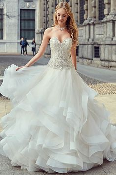 Fantastic Tulle & Organza Sweetheart Neckline A-line Wedding Dress With Beadings & Ruffles
