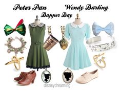 """Peter Pan and Wendy Darling"" by em-ily-ann ❤ liked on Polyvore featuring Charlotte Russe, LeiVanKash, Elizabeth and James and Disney"