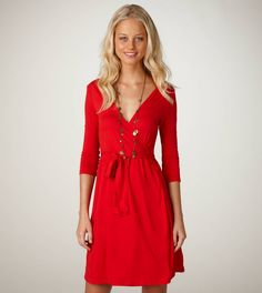 red wrap dress - good for both fall football and the holidays!
