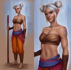[OC] Aelyn, the Drunken Half-Elf Monk : characterdrawing