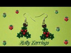 Holly Earrings Beading Tutortial by HoneyBeads