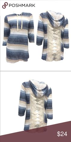 Blossom Apparel  top with hood crochet open back. Crochet open back. Great with a tank. Light material with 3/4 selves.  Adorable in. Great with jeans or shorts!!! The Blossom Apparel Tops Tees - Long Sleeve