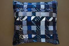 Pillow made out of ties.