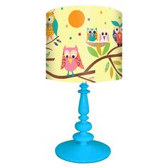 Found it at Wayfair - Owls on Branch Table Lamp in Blue