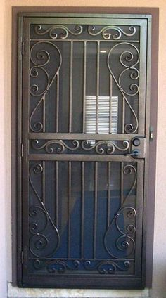safety door grill designs – Homes Tips Wrought Iron Security Doors, Steel Security Doors, Wrought Iron Doors, Security Screen, The Doors, Entry Doors, Door Grill, Window Grill Design, Iron Gate Design