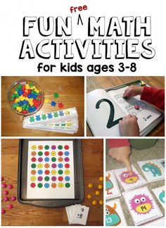 free math printables ages Hands-on lessons and free printables for a large variety of math concepts Numbers Preschool, Math Numbers, Decomposing Numbers, Free Math Games, Preschool Activities, Number Activities, Counting Games, Material Didático, Homeschool Math