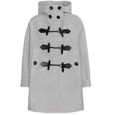 Burberry Brit Anbridge Wool and Cashmere Duffle Coat ($2,350) ❤ liked on Polyvore featuring outerwear, coats, jackets, coats & jackets, tops, grey, woolen coat, grey coat, burberry and cashmere coat