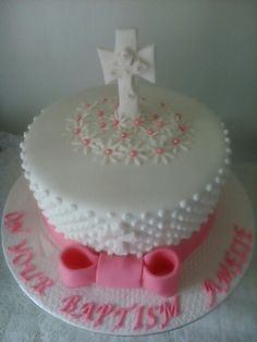 Baptism cake by Sheila's Cake Creations Essex Uk
