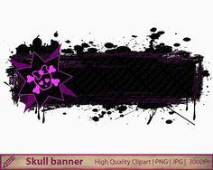 Skull frame clipart, cute girly distressed banner clip art, grunge halloween frame, scrapbooking, digital instant download, png jpg 300dpi