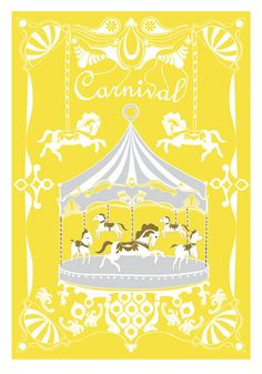 Merry - Go - Round Print - Yellow Gray - Horse Illustration Wedding Birthday Anniversary GIft Children decor Kids Wall poster. $18.00, via Etsy.