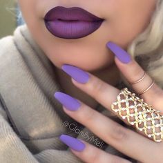 "Long Coffin Nails - "" The color Purple is often associated with royalty, nobility, luxury, power, and ambition"" ✔️Nails : @laurag_143 @lauragpolish polish (desire) ~ Rings @shopmissa #nail #color"