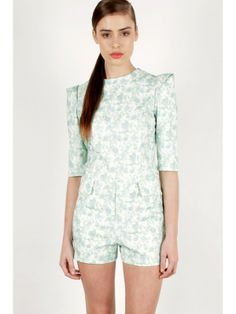 Women's #Fashion Clothing: Rompers, Jumpsuits, and Playsuits: #Mint #Blue Floral Structured Playsuit #Romper: Clothes