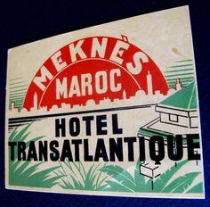 1950s HOTEL TRANSATLANTIQUE MEKNES MOROCCO~TROPICAL THEME, GREAT ART & GRAPHICS #HotelTransatlantiqueMeknesMaroc