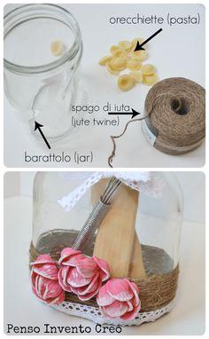 Regali per la Festa della Mamma: barattolo decorato con iuta e pasta - Penso Invento Creo