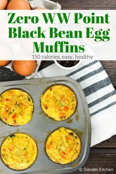 Zero Weight Watchers SmartPoints Southwest Black Bean Egg Muffins are healthy, easy to make, and delicious. #weightwatchers #weightwatchersrecipes #pointsplus #smartpoints #cleaneating