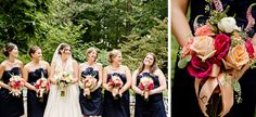 Southern wedding with bridesmaids in navy blue