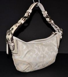 Coach C Canvas Leather Hand Tote Hobo Bag $203