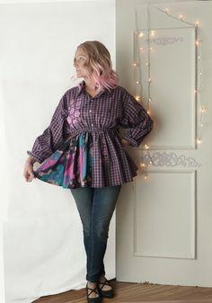 07b09cbd Babydoll boyfriend shirt, size large XL, 1X, artsy, mixed print, Mori girl,  Upcycled, cotton, ooak, empire waist, long sleeve, pink check
