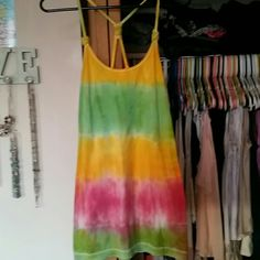Home made tye die tank Rasta colors on a long and lean tank top with braided racer-back straps. Great for summer time and festivals Tops Tank Tops