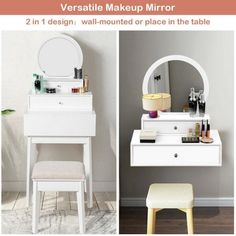 This wall mounted vanity mirror with 2 drawers without occupied floor space. And our vanity mirror is the ideal choice for the small room. More, chic and gorgeous design combines with versatile function, adds an incredible atmosp Small Vanity Table, Diy Vanity Table, Small Bedroom Vanity, White Vanity Mirror, Master Bedroom, Master Closet, Teen Bedroom, Small Makeup Vanities, Modern Makeup Vanity