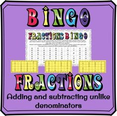 Adding and subtracting fractions with unlike denominators BINGO Adding And Subtracting Fractions, Math Fractions, Multiplication, Maths, Fraction Activities, Fun Activities, Math Games, Math Graphic Organizers, Framed Words