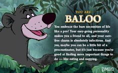 I took Zimbio's 'Jungle Book' quiz, and I'm Baloo!null - Quiz I actually took the quiz, I think it kinda fits Jungle Book Party, Jungle Theme, Walt Disney, Jungle Illustration, Bear Drawing, Disney Fanatic, Quiz, Thing 1, Scouting