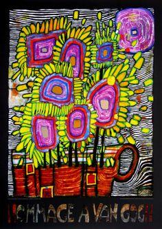 Hommage à Van Gogh, vers 2000 Reproduction d'art par Friedensreich Hundertwasser Friedensreich Hundertwasser, Van Gogh, Motif Art Deco, Art Moderne, Art Plastique, Elementary Art, Oeuvre D'art, Art Lessons, Art History